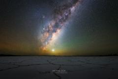 Milky way panorama at salt lake
