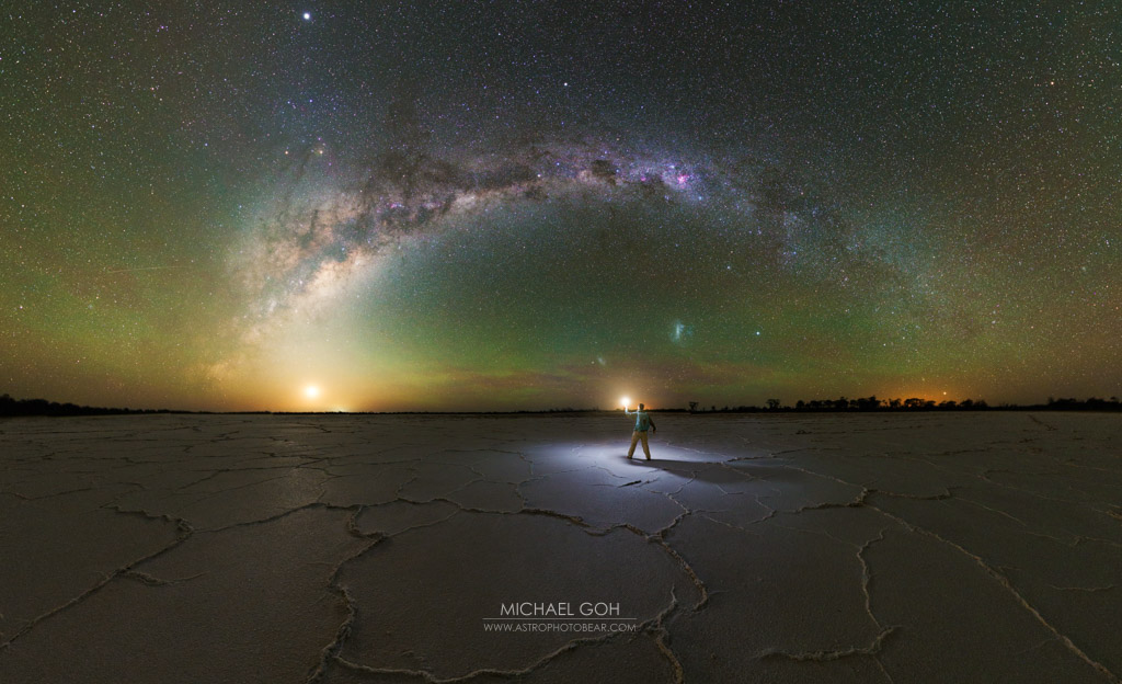 self portrait milky way over dry salt lake