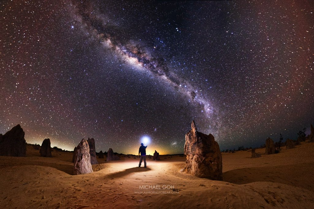 Distant Lands photo of a person at the Pinnacles with the Milky Way